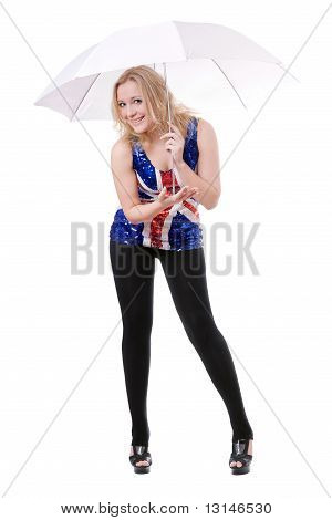 Woman Wearing Union-flag Shirt And Holding Umbrella