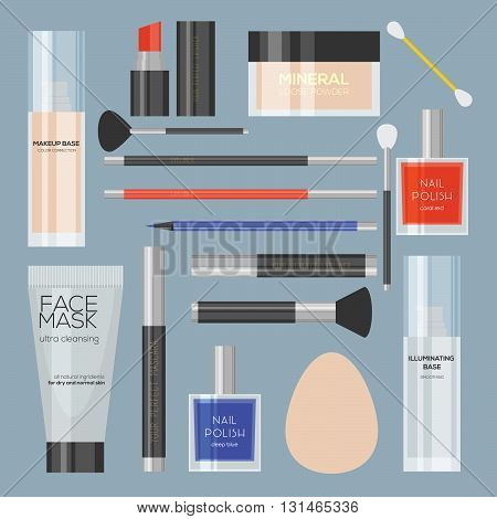 Flat minimalistic illustration of cosmetic products. Makeup products isolated. Vector illustration. Lipstick, lip liner, eyeliner, mascara, nail polish, mask, foundation, powder and brushes isolated.