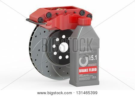 Brake Fluid with Disk Brake 3D rendering isolated on white background