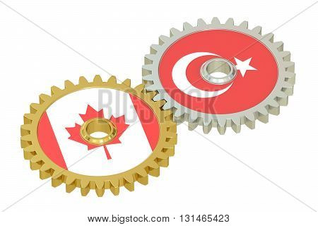 Canada and Turkey flags on a gears 3D rendering isolated on white background