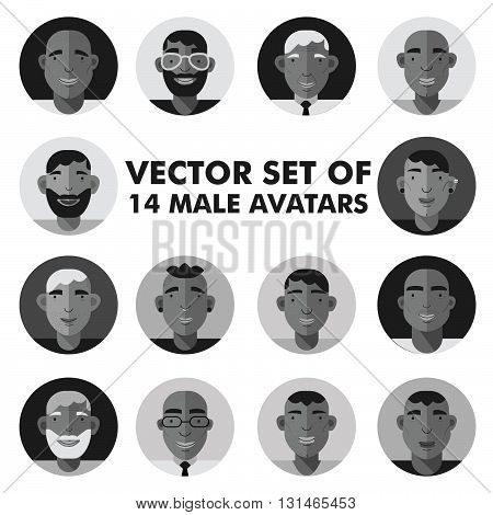 Set of male character faces avatars. Flat style vector people icons set.