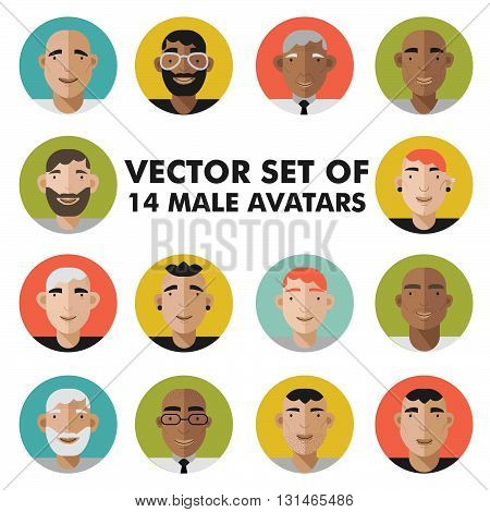 Set of male character faces avatars. Flat style vector people icons set. Vector illustration of male icons.
