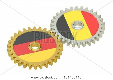 Germany and Belgium relations concept flags on a gears. 3D rendering isolated on white background