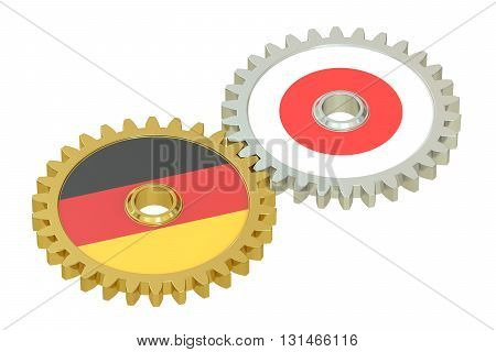 Germany and Japan relations concept flags on a gears. 3D rendering isolated on white background