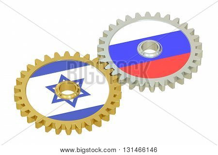 Russia and Israel relations concept flags on a gears. 3D rendering isolated on white background