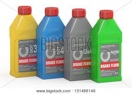 Set of Brake Fluid Bottles 3D rendering isolated on white background