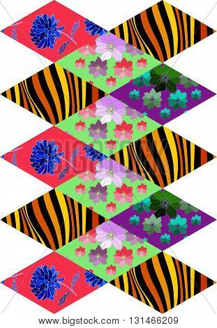 Patchwork pattern from rhombus patches with flowers and waves. Vector illustration of quilt.
