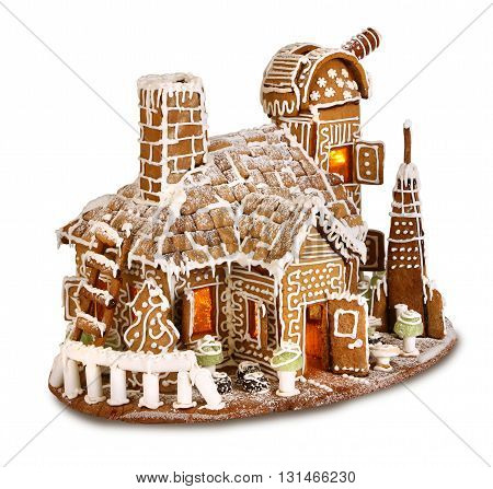 Santa's Christmas sweet gingergread house observatorium isolated