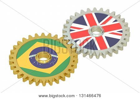 United Kingdom and Brazil relations concept flags on a gears. 3D rendering isolated on white background