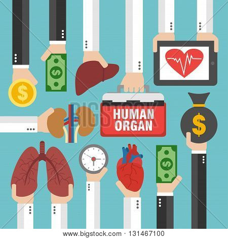 Human Transplantation infographic buying agencies flat design.Vector illustration