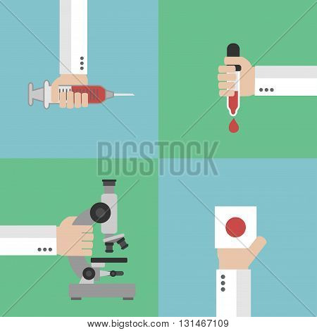 Medical blood analysis concept design flat .Vector illustration