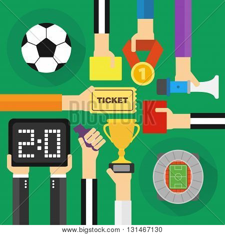 Soccer modern flat concept design .Vector illustration