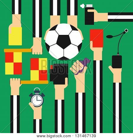 Soccer referee concept design flat .Vector illustration