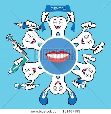 Cartoon Smiling tooth with modern flat smile icon.