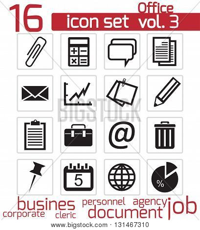 Vector black office icons set on white background