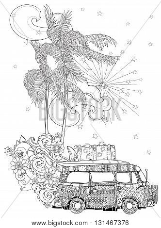 Hand drawn doodle outline palm tree, bus decorated with floral ornaments.Vector zen art illustration.Floral ornament.Sketch for tattoo, poster or adult coloring pages.Boho style.