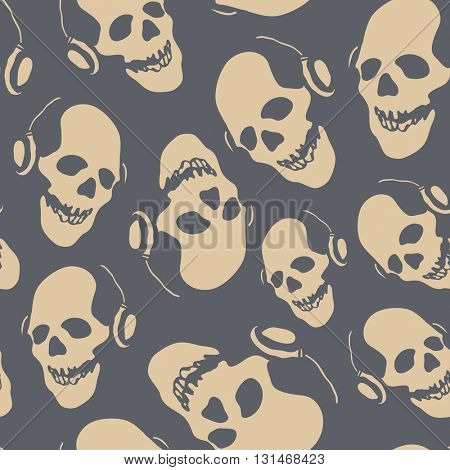Seamless pattern with skulls. Hand drawn. Vector illustration.