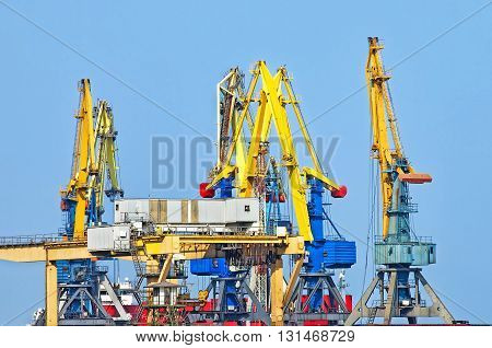 Lifting cranes in a sea port against of blue sky.