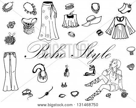 Vector illustration of female clothing and jewelry in the boho style. On an isolated white background. Fashion women clothes.