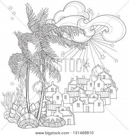 Hand drawn doodle outline palm tree, fairy cartoon city , decorated with floral ornaments.Vector zen art illustration.Sketch for tattoo, poster or adult coloring pages.Boho style.