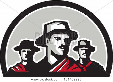 Illustration of a group of gauchos set inside half circle shape on isolated background done in retro style.