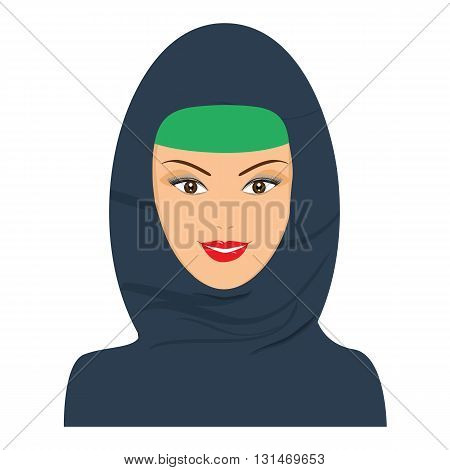 Islamic happy woman avatar with headgear hijab. Vector with flat color design.