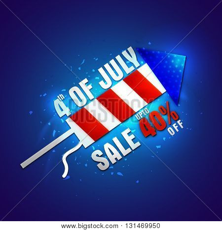 4th of July Sale Poster, Sale Banner, Sale Flyer, Sale Background, Upto 40% off, Creative illustration of American Flag colors rocket for Independence Day celebration.