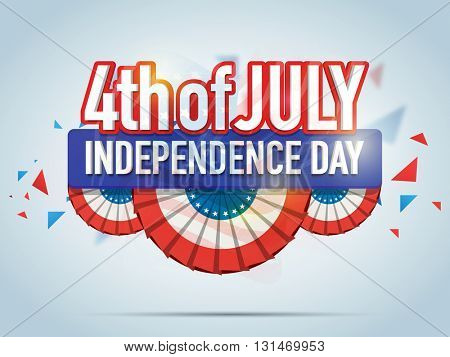 Creative Poster, Banner or Flyer design with stylish text 4th of July in American Flag colors for Independence Day celebration.