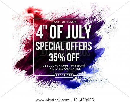 4th of July Special Offers, 4th of July Sale Poster, Sale Banner, Creative Abstract Sale Background with brush strokes, Online Sale, 35%  Off, Sale Vector for American Independence Day celebration.