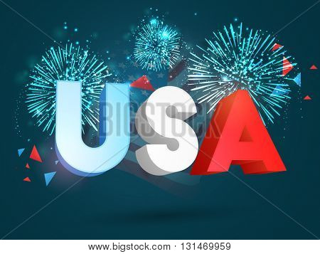 Glossy 3D Text U.S.A in American Flag colors on beautiful fireworks background for 4th of July, Independence Day celebration.