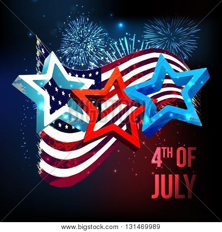 Glossy 3D Stars on waving American Flag, fireworks decorated background for 4th of July, Independence Day celebration.