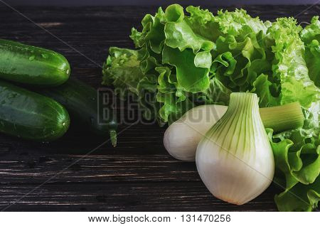 Green Salad, Cucumbers And Onion