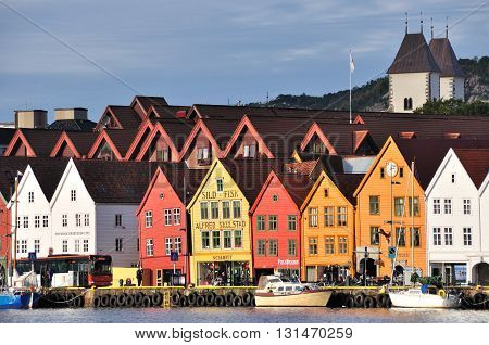 Bergen, Norway - September 26, 2013: View Of The Famous Wooden Building In Bryggen Wharf, Its A Seri