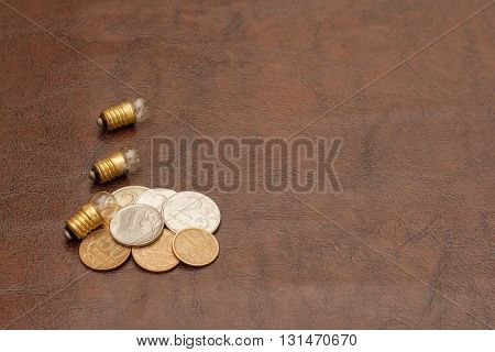 Vintage, A Small Light Bulb With Coins (russian Rubles) Lie On A Leather Background. Steampunk.