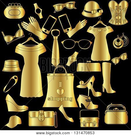 Women's  stylish fashion and accessories . Black and gold.  (Can be repeated and scaled in any size.)