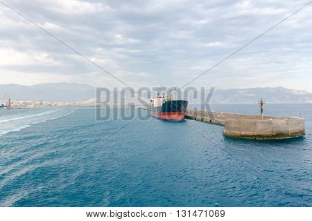 Entrance from the sea to the port of Heraklion. Crete. Greece.