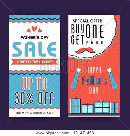 Special Offer Sale Banners, Limited Time Sale, Upto 30% Off, Creative illustration for Happy Father's Day celebration.