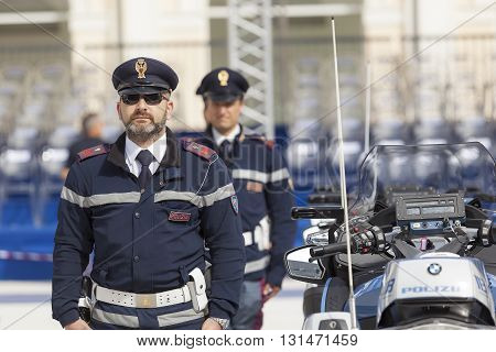 Rome Italy - May 25 2016: Men of traffic police deployed during the celebrations for the 164th anniversary of the State Police.