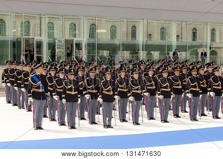 Rome Italy - May 25 2016: Men and women of the police in full uniform during the celebrations for the 164th anniversary of the State Police - deployment.