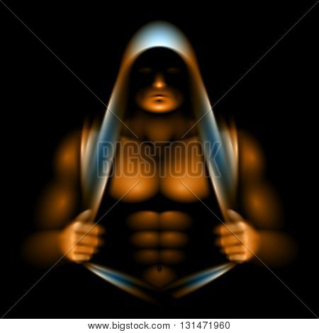 Athlete opened torso and looking out from under the hood; the incident light is illuminates the relief of muscles; No meshes only gradients; Eps10