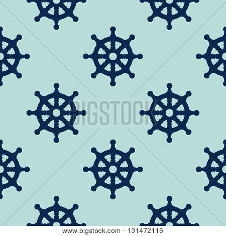 Steering Wheel seamless pattern vector illustration on blue