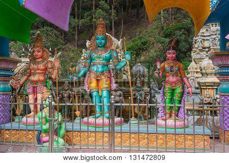 Beautiful statues in tamil hindu temple on the island of Sri Lanka.