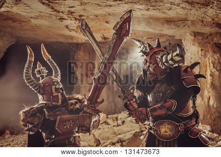 Battle Of Powerful Knights In Heavy Armor