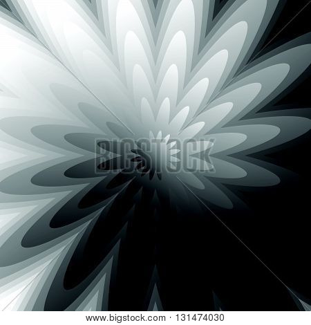 Abstract Grayscale, Geometric Background In Square Format With Distorted Radiating Shapes.