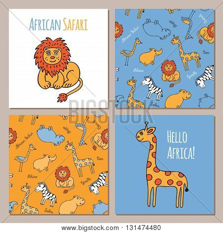 Lion and giraffe in Doodle style hand drawn. Two seamless pattern with wild animals of Africa. Vector set of images for printing on fabric, clothes, packaging, Wallpapers.