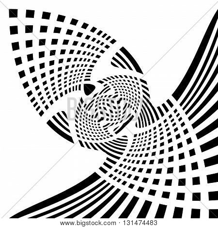 Distorted Symmetric Geometric Element. Abstract Monochrome Illustration.