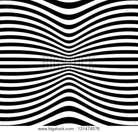 Lines Pattern With Distortion. Abstract Geometric Illustration.