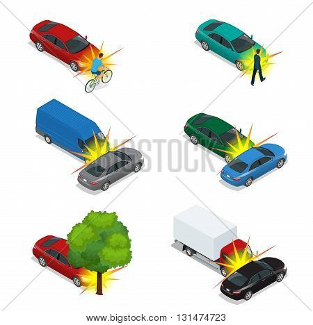 Car crash, emergency disaster. Auto accident involving car crash city street. Flat 3d vector isometric illustration.