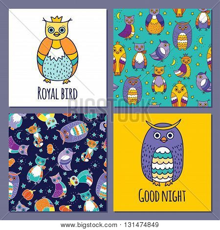 Vector set of images of owls. Images in the style Doodle hand-drawn. Two seamless pattern with owls. For printing on fabric, clothes, packaging, Wallpapers.