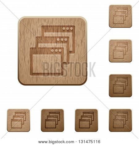 Set of carved wooden Cascade window view mode buttons in 8 variations.